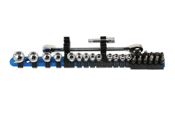 Alldrive Set tubulare si biti, profil subtire , 27 piese Laser Tools
