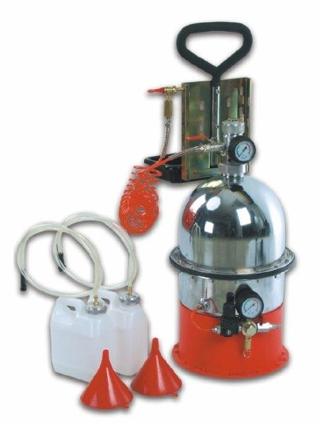 Aparat pneumatic inlocuit lichid frana cu 2 bidoane de 5 litri si palnie