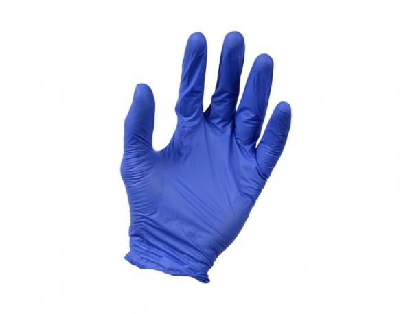 Set 100 manusi cu textura nitril fara pulbere albastre rezistente solventi si benzine marimea M