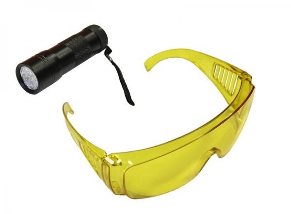 Lampa UV cu ochelari speciali detecte scurgeri agent refrigerant