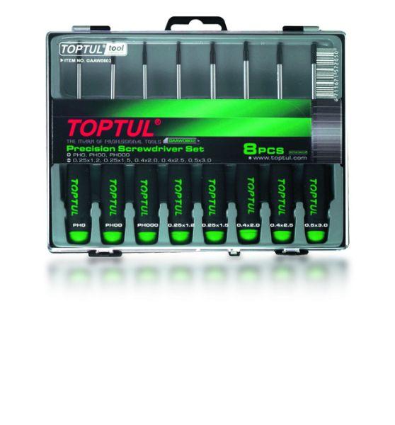 Set surubelnite precizie Torx, Toptul 8 piese T5-T20