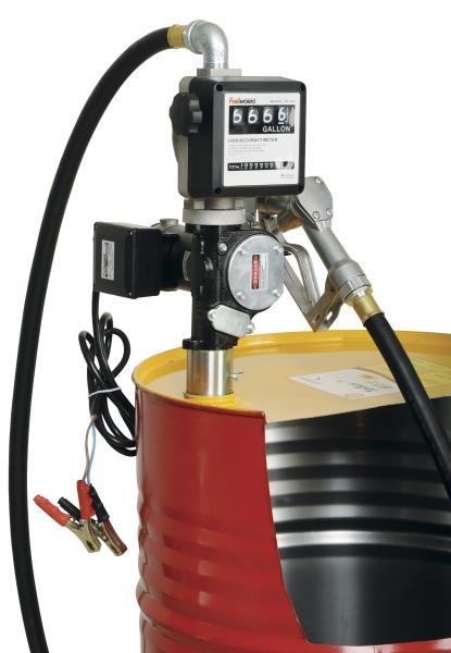 Distribuitor ulei cu pompa electrica 35 70 litri min 12 24V furtun aspiratie 2 m furtun distributie 4 m cu pistol cu contor