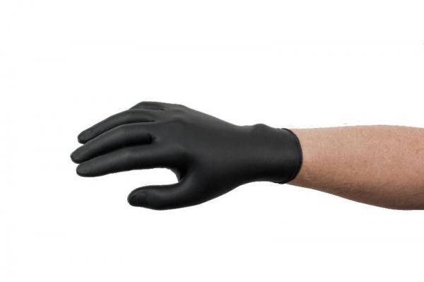 Set 100 manusi cu textura nitril negre marimea XL