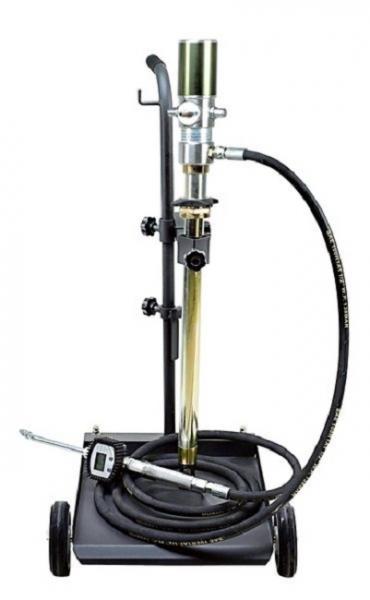 Distribuitor ulei cu carucior 50 60 litri pompa pneumatica transfer raport 3:1 pistol display cantitate furtun 4 m